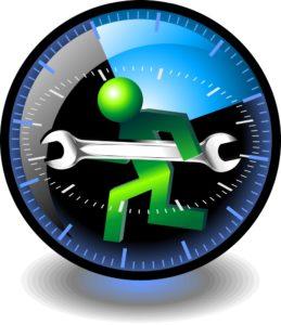 human cartoon with screw driver inside a clock