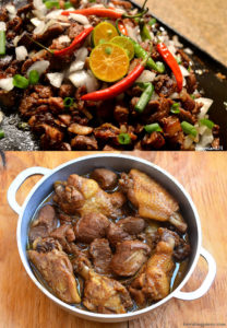 spicy pork sisig and chicken adobo