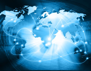 World map on a technological background, glowing lines symbols of the Internet, radio, television, mobile and satellite communications. Internet Concept of global business. Elements of this image furnished by NASA