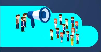 cartooned people with megaphone